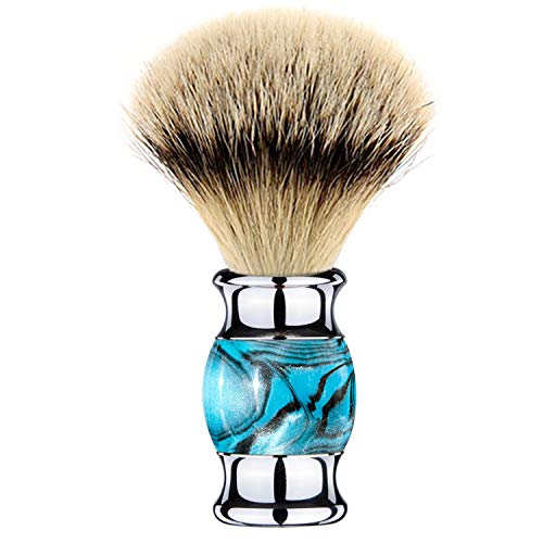 Grandslam Finest Badger Shaving Brush with Resin Handle- Engineered for the Best Shave of Your Life (Blue)