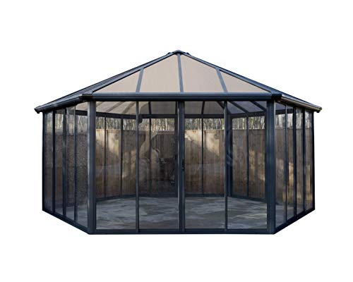 Palram Garda Closed Gazebo Summerhouse Hot Tub Enclosure - Grey/Bronze 19.5' L x 17' W x 10.9' H ft