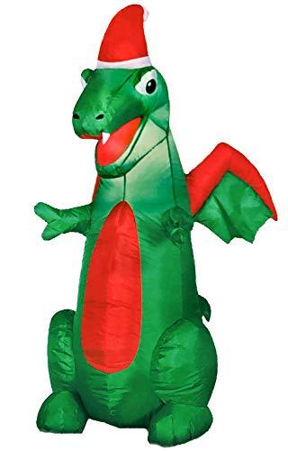 Christmas Dragon Inflatable 3.5 Tall Lighted Holiday Yard Decoration