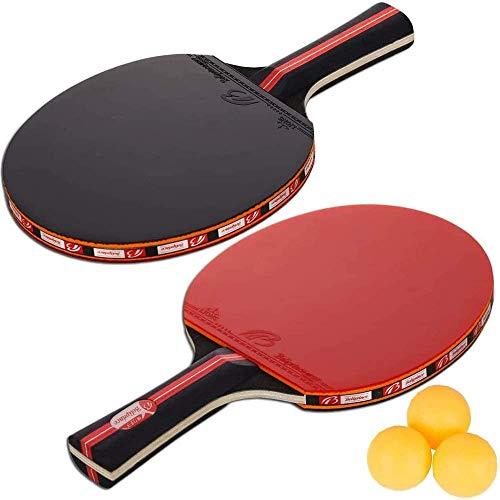 Amaza Professionel Tischtennis-Set - 2 Tischtennisschläger + 3 Tischtennis Bälle für Amateure, Anfänger, Experten