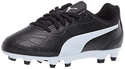 PUMA Unisex-Child Monarch Firm Ground Soccer Shoe, Black White, 5.5 M US Big Kid