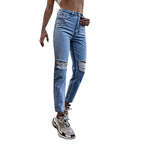 Lenfeshing Pantalones Rectos de Cintura Alta ara Mujer Vaqueros de Corte Slim Rotos