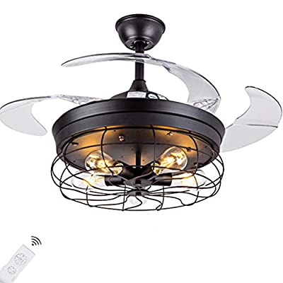 """Fandian 42"""" Vintage Ceiling Fan with Lights Industrial Chandelier Remote Control Lamp 3 Speeds Retractable Lighting fixture, Silent Motor Bulbs Required"""