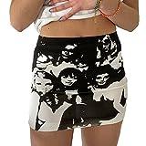 Women Y2k Mini Skirts Portrait Print Bodycon Pencil Skirt 90s E-Girls Harajuku Gothic High Waist Short Skirt Clubwear (Black White Portrait Print, Small, s)