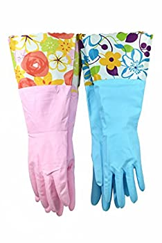 Finnhomy 31212 Household Gloves Latex free cleaning Gloves with soft fiber lining extra long cuff 15  and Vinyl Textured Grip  2 pair  Medium