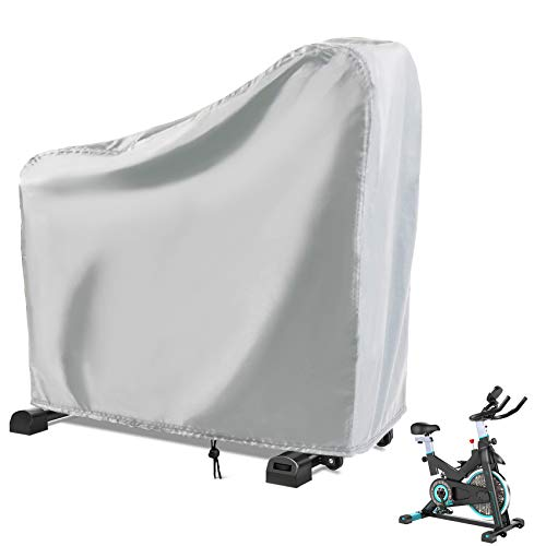 Rilime Exercise Bike Cover, Upright Cycling Protective Dustproof Waterproof Windproof Bicycle Cover Ideal for Indoor & Outdoor Fitness (Silver)