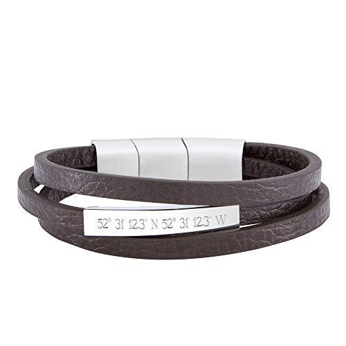 Gravado Armband aus braunem Leder mit Streifen und Edelstahl Plakette, Personalisiert mit Geo-Koordinaten, Magnetverschluss, Herren Schmuck