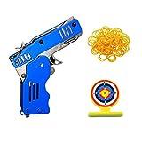 BSTCAR Pistola de goma de juguete, mini banda de goma plegable juguete pistola de goma plegable con llavero para juegos de disparos actividades al aire libre