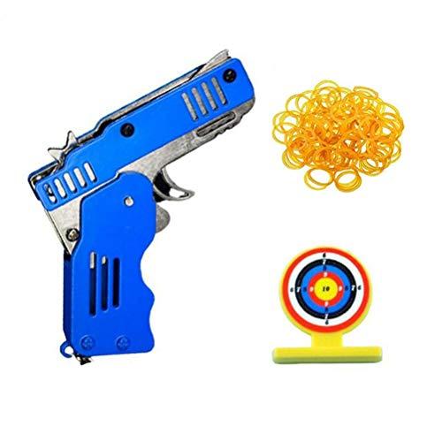 Mini Pistola de Goma Plegable Mini Metal Plegable de 6 Dispa