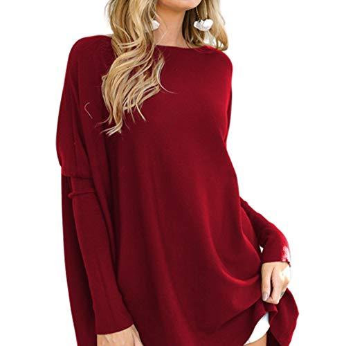 QTYJQ Tops de túnica de Mujer para Leggings Camisas de Gran tamaño Ocasionales Batwing Manga Larga Suéteres Sueltos Tops Túnicas