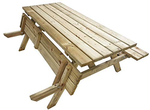Atlantis Table de pique-nique en bois de 180 cm | 6 personnes | 50 kg (!) | Qualité Gastro | Assises pliables | Robuste | Table de jardin avec 2 bancs | Table de jardin à bière