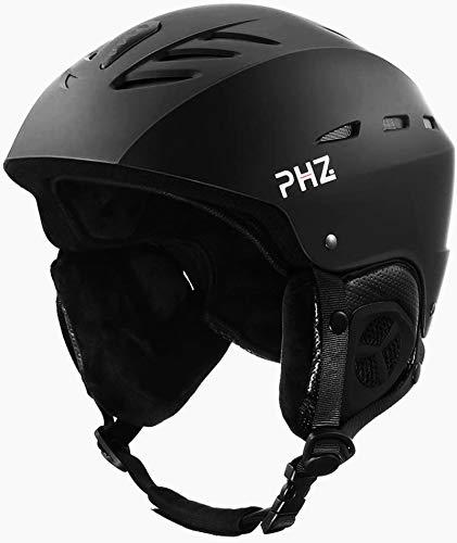 PHZ Casco da Sci Invernale e da Snowboard per Adulti Regolabile Ski Helmet per Gli Sport Invernali, Skate e Alpinismo Unisex, Skihelm Adjustable (Nero, Large)