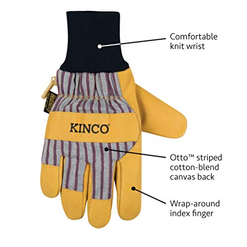 Kinco - Kid's Lined Premium Pigskin Leather Work and Ski Gloves, Heatkeep Thermal Insulation, Otto Striped Canvas, Fitted Knit Wrist, (Style No. 1927KW)