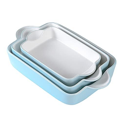 Bakeware Set Ceramic Baking Dish - Rectangular Porcelain Baking Pan Lasagna Pans Casserole Dish Set for Cooking, Kitchen, Cake Dinner, Banquet and Daily Use, 3 PCS, 13 x 8 Inches (Blue)