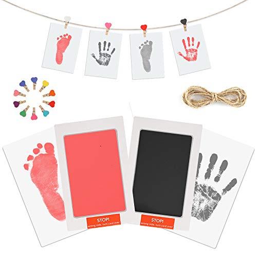 Baby Handabdruck Fußabdruck Set mit Stempelkissen, 4pcs Impressum Karten, 10pcs Holzklammern und Seil, 100% Safe für Neugeborene und Kleinkinder - Blau und rosa (rosa)