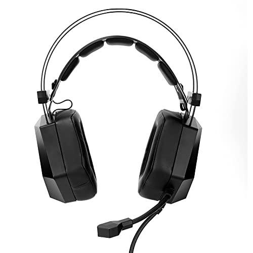 Auriculares para Juegos, Auriculares competitivos con reducción de Ruido estéreo con Cable para Colocar sobre la Oreja, Chip decodificador de Sonido Envolvente Incorporado y micrófono de reducción de