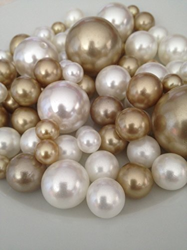 Vase Filler Pearls For Floating Pearl Centerpieces, 80 Champagne & Ivory Pearls Jumbo & Mix Size No Hole Pearls, (Transparent Gel Beads Required To Create Floating Pearls Sold separately)