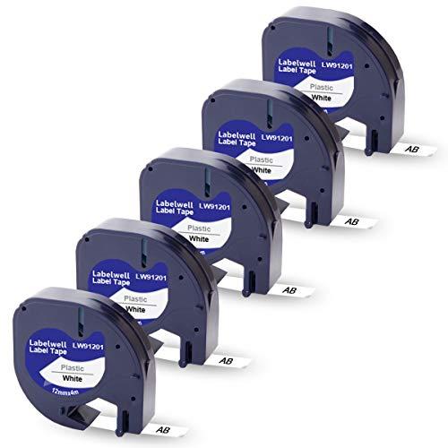 5x Labelwell 12mm 0.47 Kompatibel Schriftband Ersatz für Dymo 91221 S0721660 91201 Plastic Schwarz auf Weiß für Dymo S0883990 LetraTag LT-100H LT-100T Plus LT-110T QX 50 XR XM 2000 Beschriftungsgerät