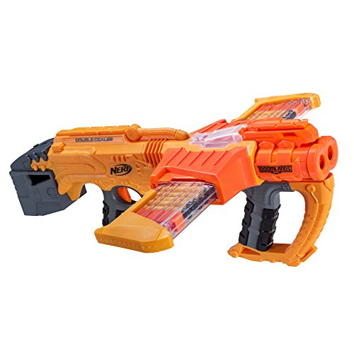 Nerf Doomlands Blaster Double Dealer Toy Blaster with Two 12-Dart Clips & 24 Official Elite Darts for Kids, Teens, & Adults, Orange, Standard