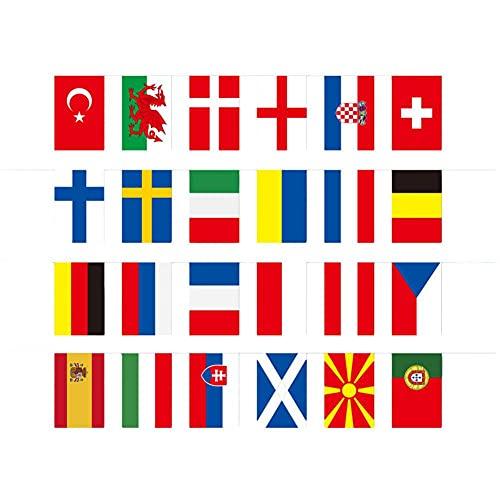 Eogrokerr Campeonato Europeo de Fútbol EURO 2021 banderines de tela, banderines de tela Eurovisión decoraciones de fiesta para jardín bar restaurante decoración (A)
