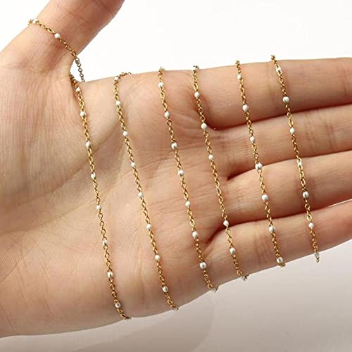 Piedra natural Color de oro de color de acero inoxidable Cadena de rosario de alambre de acero inoxidable perlas para pulseras collar tobillos de joyería para bricolaje accesorios hechos a mano