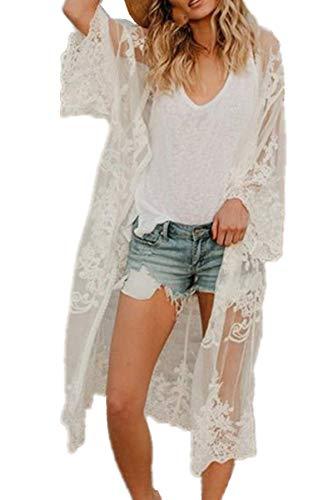 AiJump Caftán floral de encaje de la cubierta del bikini Hasta Bohemia vestido maxi del bañador del kimono para Mujer Talla nica Blanco, Blanco 2