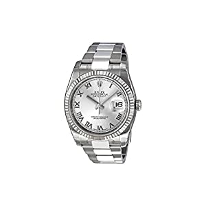 Fashion Shopping Rolex Perpetual Datejust Rhodium Dial Stainless Steel 18kt White Gold Mens Watch 116234RRO