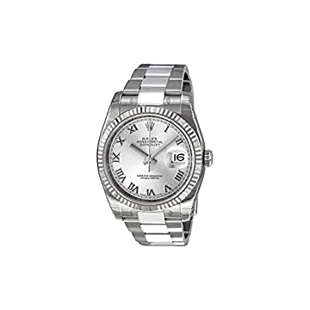 Fashion Shopping Rolex Perpetual Datejust Rhodium Dial Stainless Steel 18kt White Gold Mens Watch