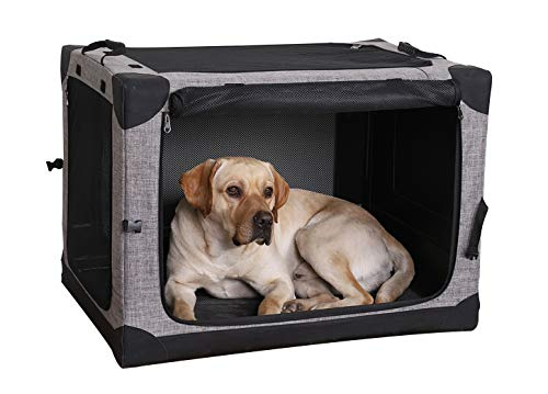 LIOOPET 4 Door Quick Portable Folding Dog Crate Kennel with Mesh Mat for Indoor and Outdoor
