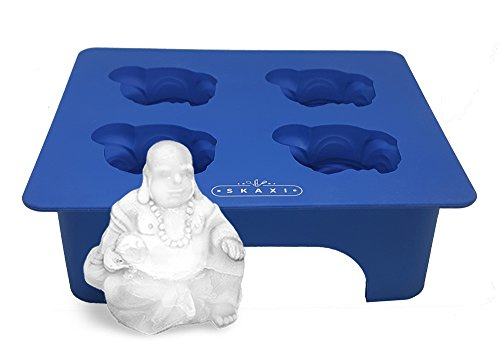 Skaxi 3D Laughing Buddha Silicone Mold, Novelty Ice Cube Mold, Silicone Molds for Baking