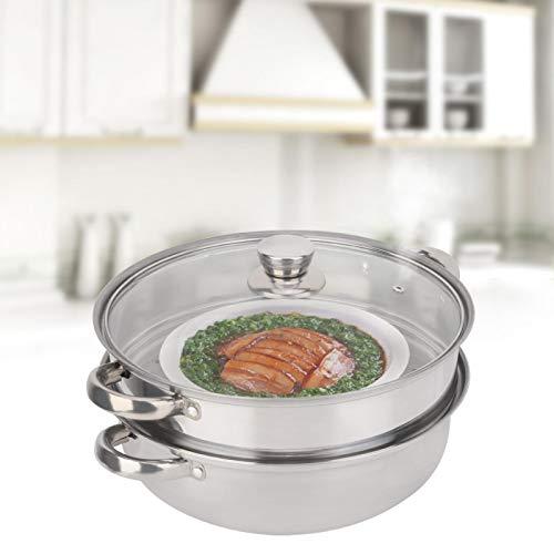 Olla de Vapor de 11 Pulgadas Olla de Doble Caldera Utensilios de Cocina de Ahorro de energía de Acero Inoxidable para Cocina