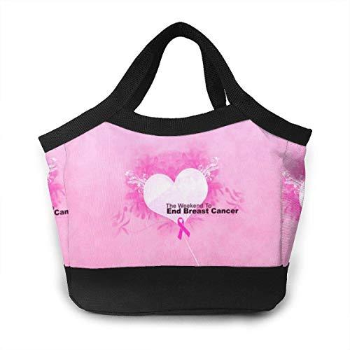 Pink Ribbon Lunch Box Prep Insulated Lunch Bag .x.x. Inch Men & Women Waterproof Cooler Tote Waterproof Pi