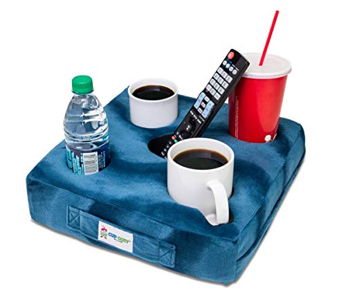 Cup Cozy Deluxe Pillow (Teal) As Seen on TV -The world's BEST cup holder! Keep your drinks close and prevent spills. Use it anywhere-Couch, floor, bed, man cave, car, RV, park, beach and more!