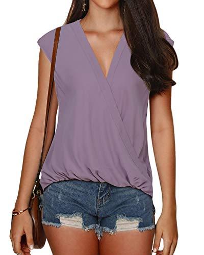 YOINS ärmelloses Damen-T-Shirt, Top, Bluse, Sexy V-Ausschnitt, Cami, Tank-Top, Kreuzvorne, einfarbig Gr. L, 2~Dusty Pink