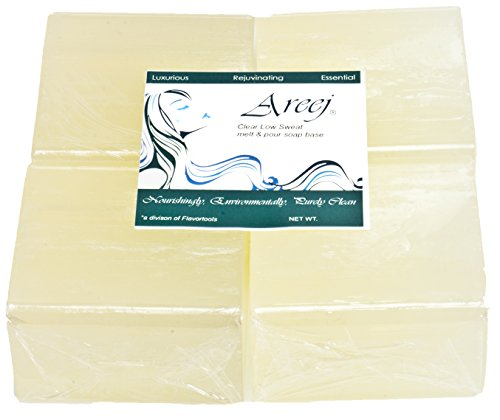 Areej Hypo-Allergenic Biodegradable Clear Low Sweat Soap Base made with 100% Pure Natural Glycerin - 2 Pounds