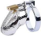 Koduisy Metal Ċḣȧṡṯiṯy Device Ċḣȧṡṯiṯy Lock Metal Ċḣȧṡṯiṯy Belt Ċḣȧṡṯiṯy Cǎge Silver Ċḣȧṡṯiṯy Dêvice for Male Pêňís Ring Electro Stimúlätiọn Lock Rings Metal Bütt Plüg (Size : 41mm)