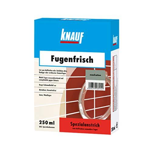 Knauf Fugen-Frisch zur Farb-Auffrischung alter Fugen – Spezialanstrich zum Auffrischen oder Färben verblasster Zement-Fugen: der Spezial-Reiniger beugt Schimmelpilz-Befall vor, Manhatten-Grau, 250-ml