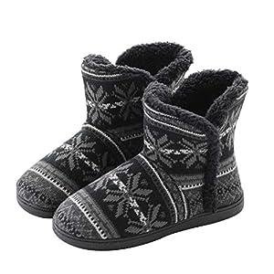[LYING] ルームブーツ レディース メンズ 冬 もこもこ 防寒 無地 ルームシューズ 裏ボア あったか 滑り止め 静音 室内履き アウトドア 雪遊び かかと付きスリッパ 綿靴 男女兼用 おしゃれ カップルスリッパ 厚底 23.5-26cm