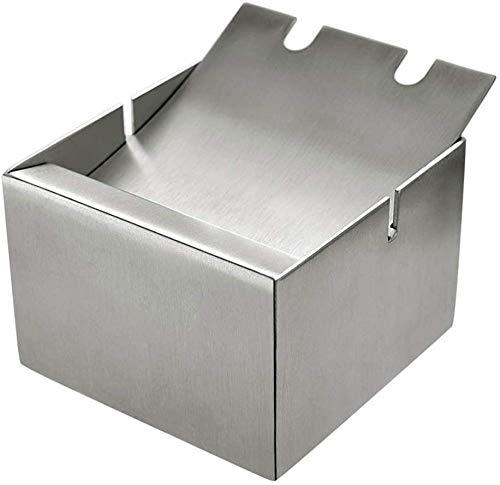 Cenicero de acero inoxidable europeo creativo mediano cuadrado para estudio de hollín (color: plata, tamaño: F) mei