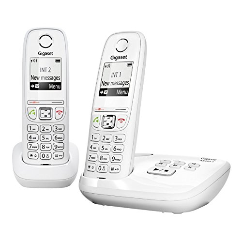 Gigaset Gigaset AS405A DUO - Pack de 2 teléfonos fijo inalámbricos (DECT GAP, mínimas radiaciones), blanco [Versión Importada]