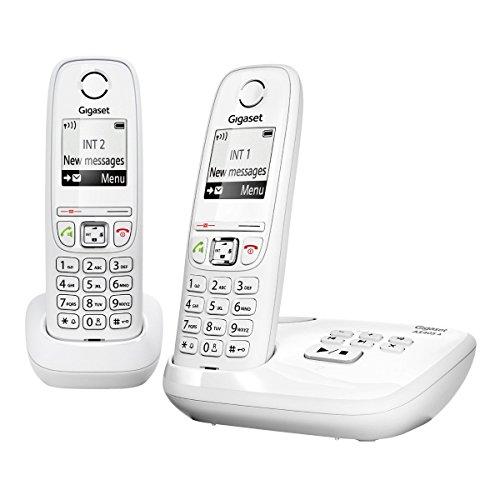 Gigaset Gigaset AS405A DUO - Pack de 2 teléfonos fijo inalámbricos (DECT/GAP, mínimas radiaciones), blanco [Versión Importada]
