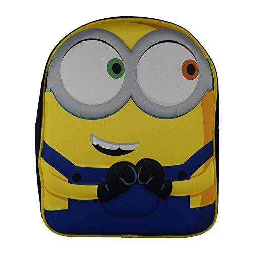 Minions Eyes Officially Licensed Backpack- Personalised Plain Presents School Quality Product Stitching Padded Shoulder Straps Tension Resistant 100% Polyester (Plain)