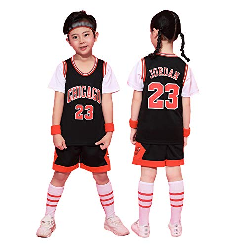 Bulls Jordrn #23 - Conjunto de camiseta y pantalones cortos de 2 piezas para niño y niña, camisetas de baloncesto para niños, chaleco bordado