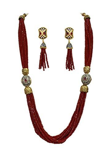 Babosa Sakhi Frauen Eid Geschenk Lange Halskette Rot Perle Zeichenfolge Bollywood Jaipuri Schmuck Satz