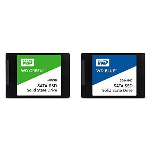 """WD Green 480GB Internal PC SSD - SATA III 6 Gb/s, 2.5""""/7mm - WDS480G2G0A & Western Digital 500GB WD Blue 3D NAND Internal PC SSD - SATA III 6 Gb/s, 2.5""""/7mm, Up to 560 MB/s - WDS500G2B0A"""
