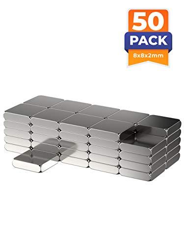50x Neodym Power Magnet silber | Quadermagnet extra stark rechteckig | Rechteck L/B/H 8 mm x 8 mm x 2 mm | 50 Neodymium Magnets Strong Rectangular Magnetic Rectangle | starke Magneten Supermagnet