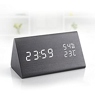 Digital Alarm Clock, Wooden Alarm Clock with Dual Time (12/24) Mode, 3 Levels Brightness,