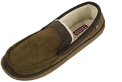 IZOD Men's Classic Two-Tone Moccasin Slipper, XL Size 11-12, Tan Brown