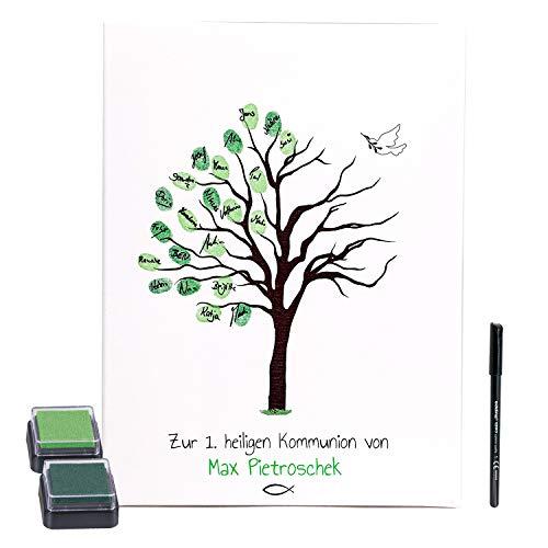 KATINGA Personalisierte Leinwand zur Kommunion als Gästebuch für Fingerabdrücke, 30x40cm (mit...