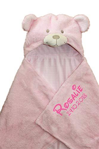 Kapuzendecke/Kapuzentuch mit Name u. Geburtsdatum bestickt/Kapuzen Decke aus Termofrotte - kuschelig warm / 75 x 100 (Rosa)